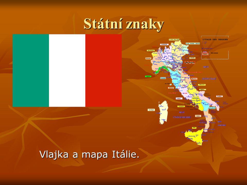 Státní znaky Vlajka a mapa Itálie.