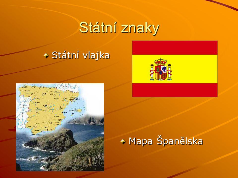 Státní znaky Státní vlajka Mapa Španělska