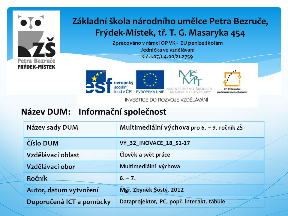 Název DUM: Informační společnost