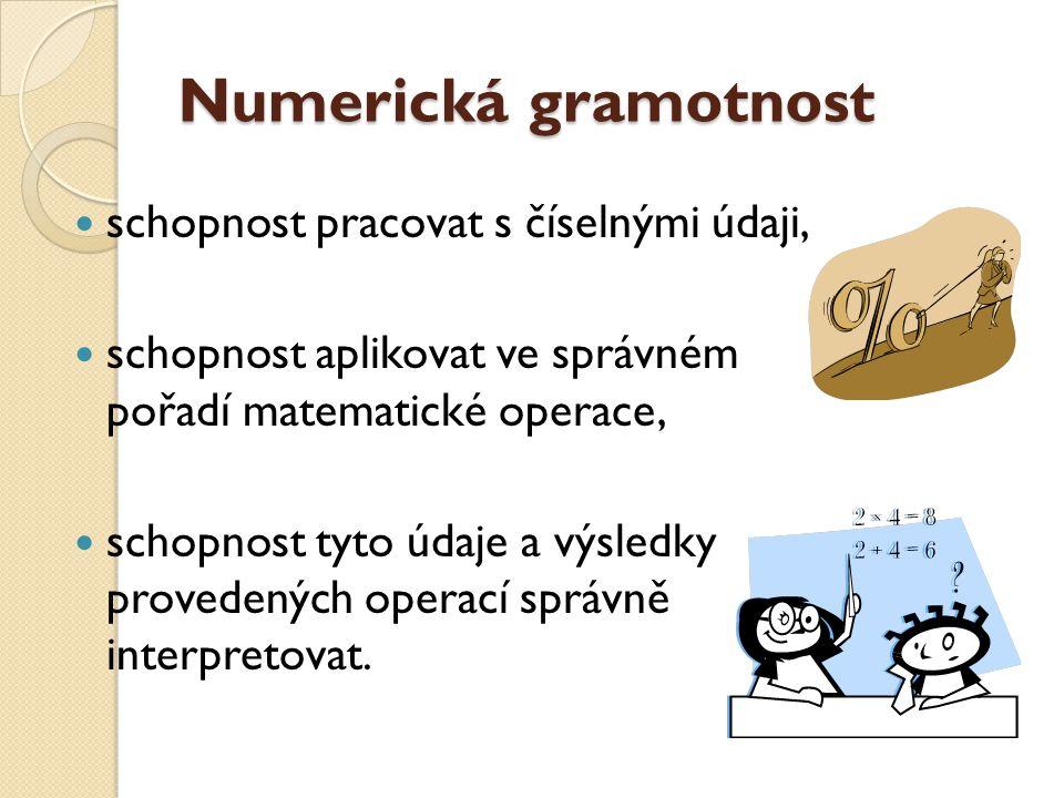 Numerická gramotnost schopnost pracovat s číselnými údaji,