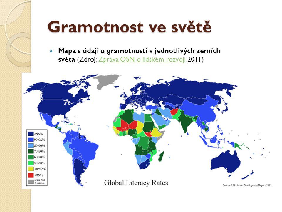 Gramotnost ve světě Mapa s údaji o gramotnosti v jednotlivých zemích světa (Zdroj: Zpráva OSN o lidském rozvoji 2011)