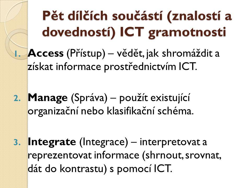 Pět dílčích součástí (znalostí a dovedností) ICT gramotnosti