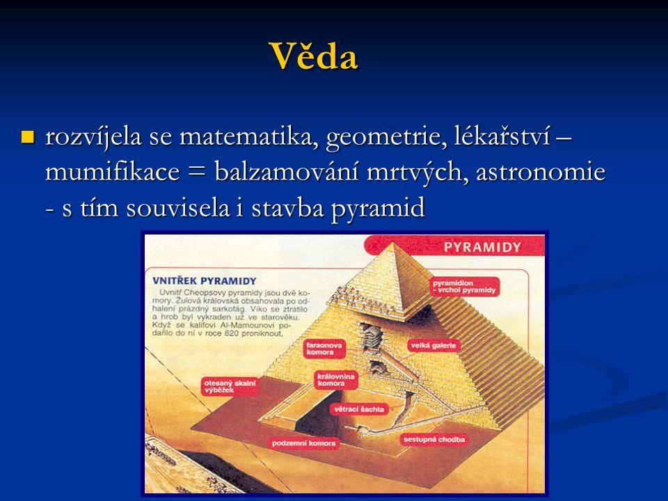 Věda rozvíjela se matematika, geometrie, lékařství – mumifikace = balzamování mrtvých, astronomie - s tím souvisela i stavba pyramid.