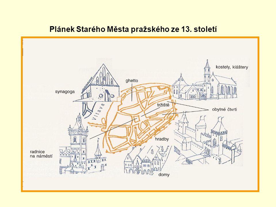 Plánek Starého Města pražského ze 13. století