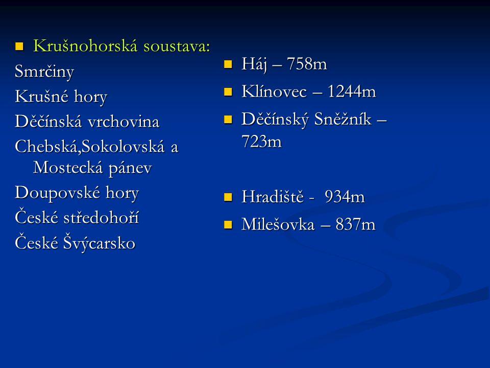 Háj – 758m Klínovec – 1244m. Děčínský Sněžník – 723m. Hradiště - 934m. Milešovka – 837m. Krušnohorská soustava: