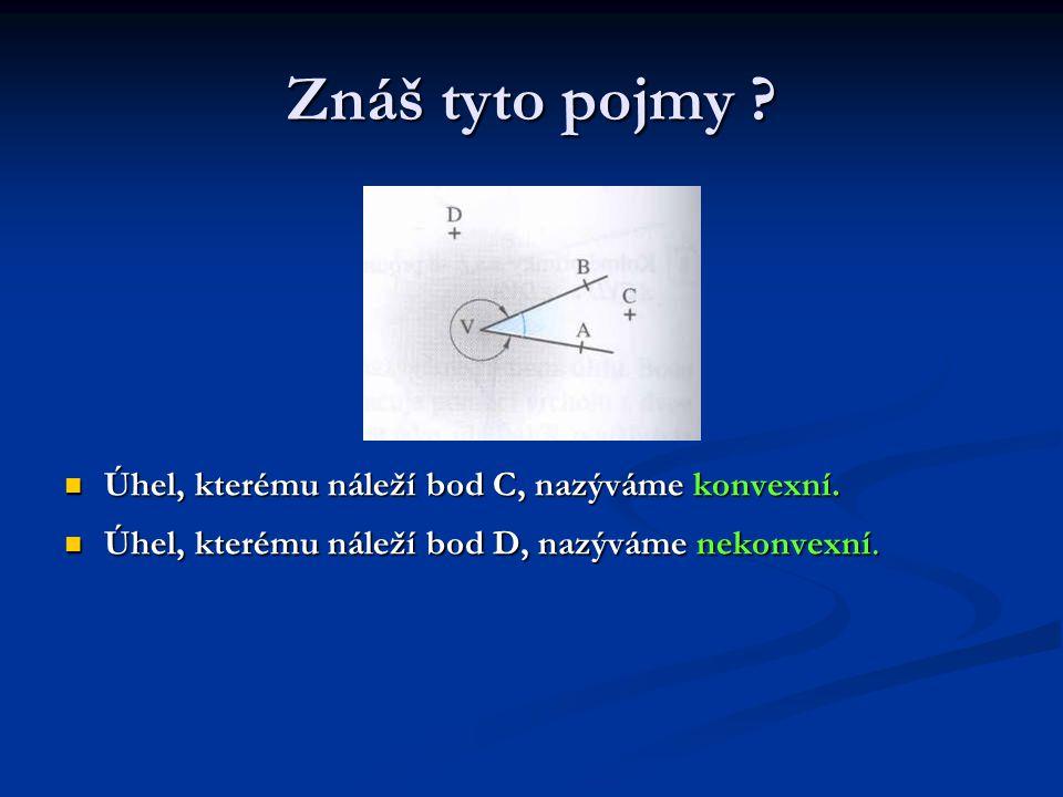Znáš tyto pojmy Úhel, kterému náleží bod C, nazýváme konvexní.