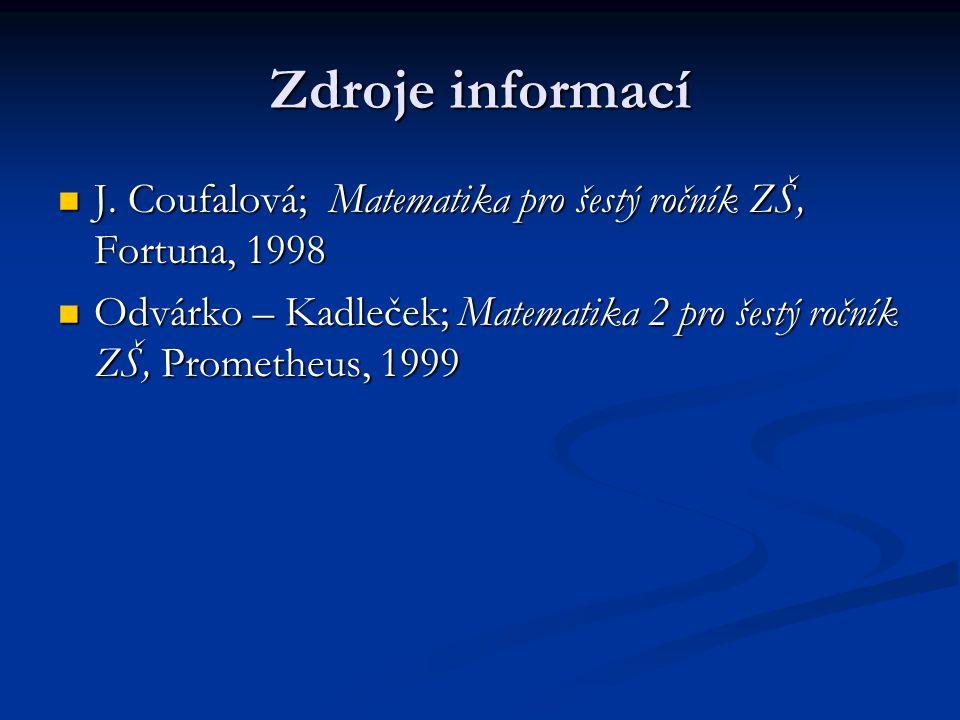Zdroje informací J. Coufalová; Matematika pro šestý ročník ZŠ, Fortuna, 1998.