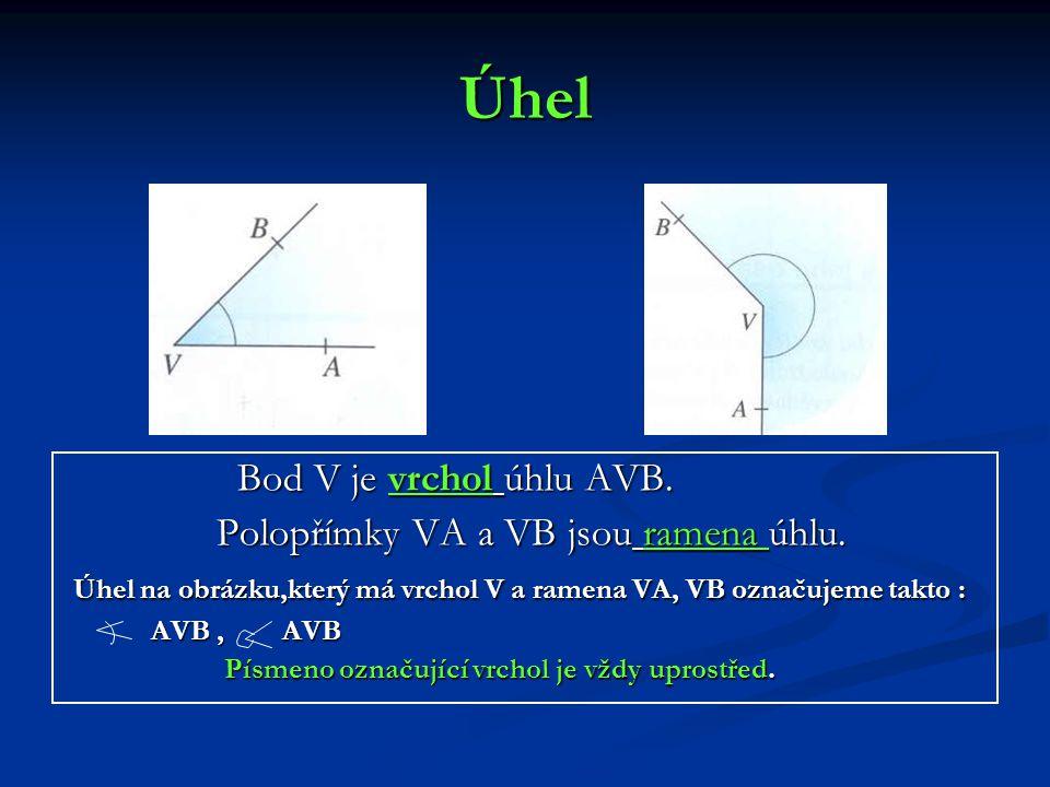 Úhel Bod V je vrchol úhlu AVB. Polopřímky VA a VB jsou ramena úhlu.