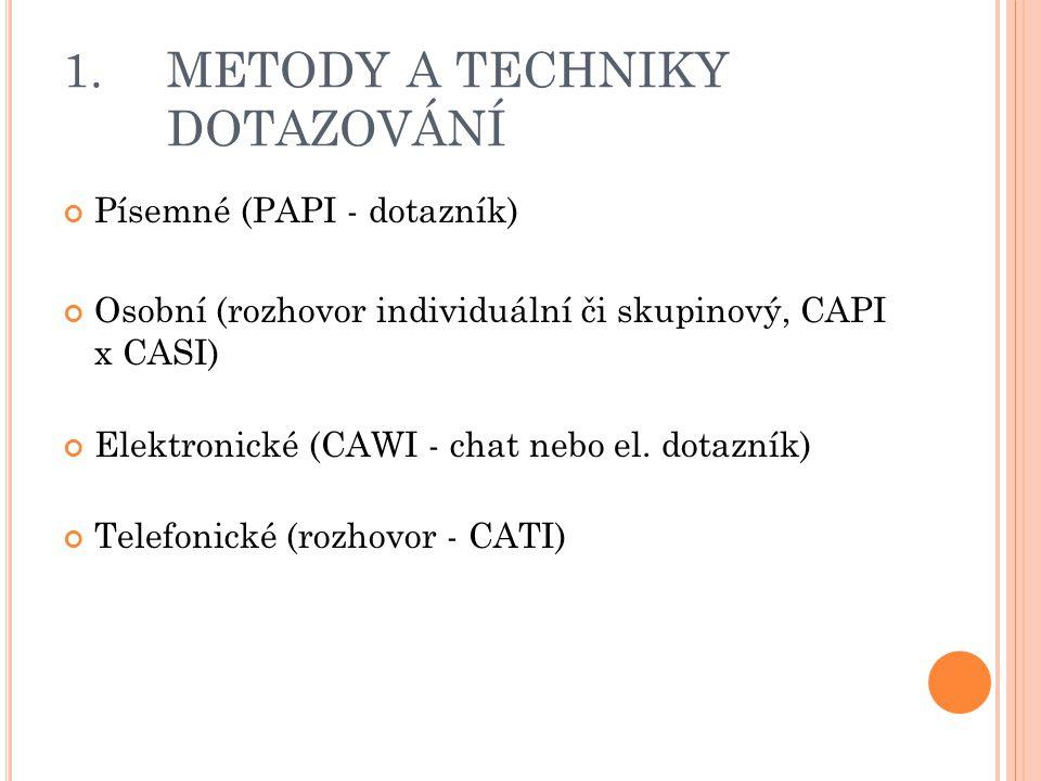 1. METODY A TECHNIKY DOTAZOVÁNÍ