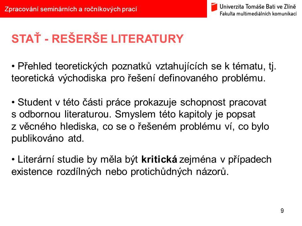 STAŤ - REŠERŠE LITERATURY