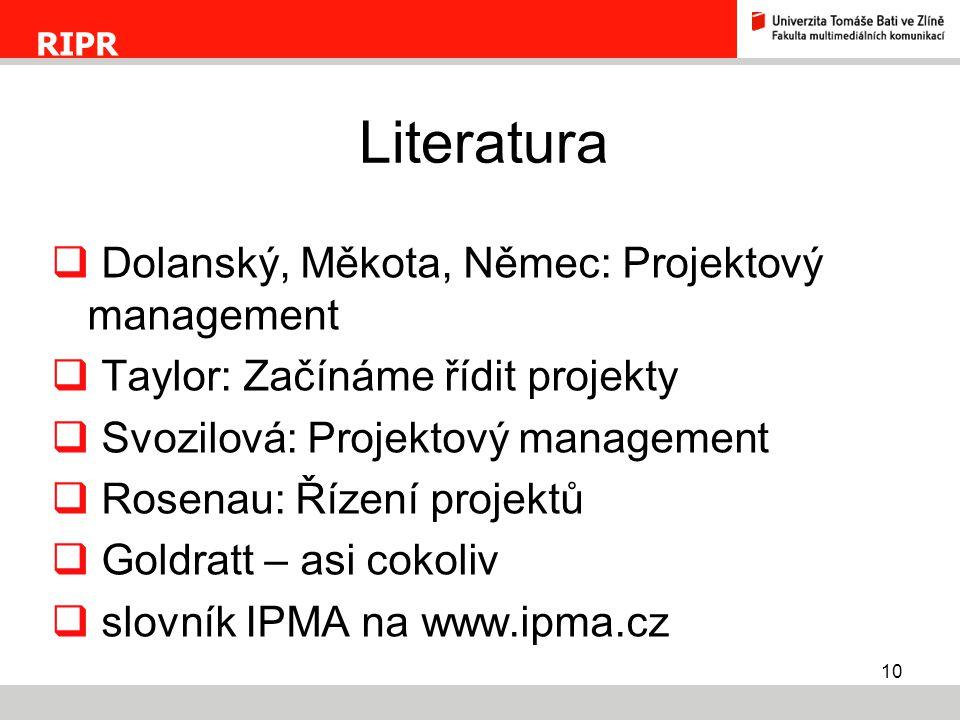 Literatura Dolanský, Měkota, Němec: Projektový management