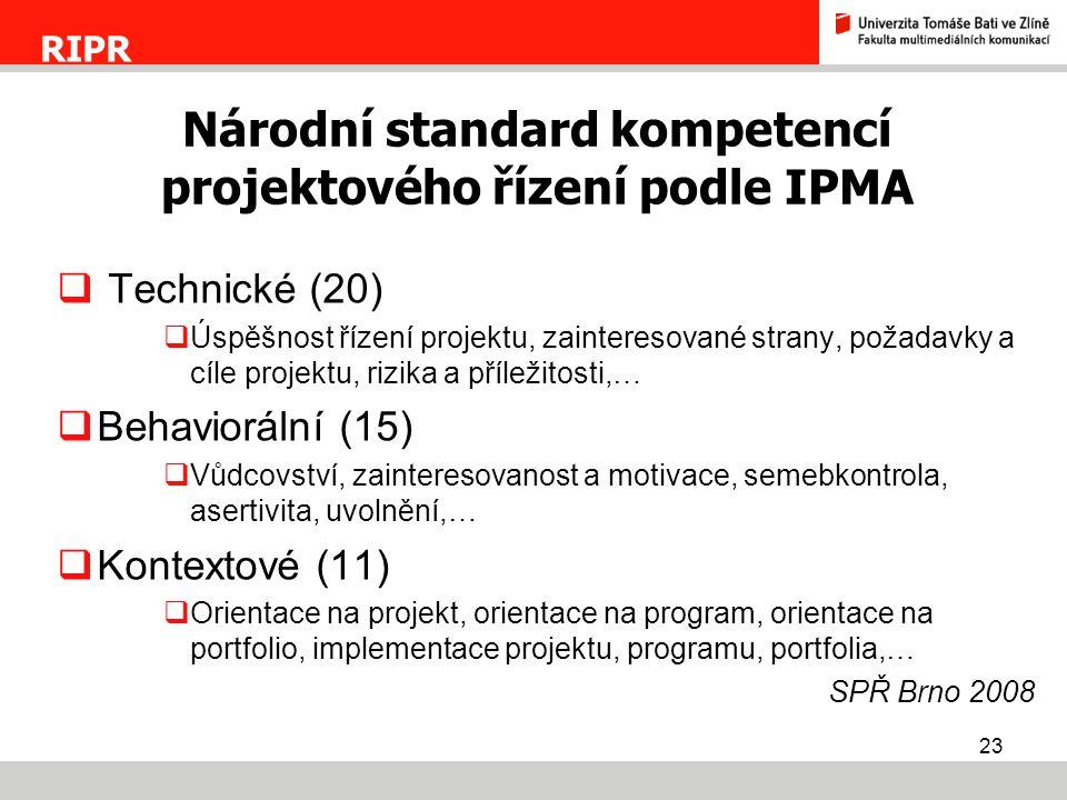 Národní standard kompetencí projektového řízení podle IPMA