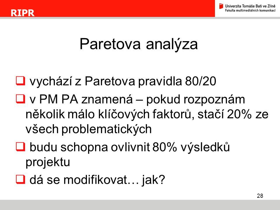 Paretova analýza vychází z Paretova pravidla 80/20
