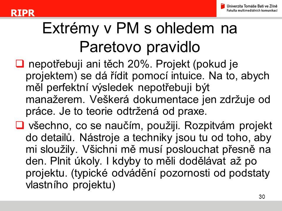 Extrémy v PM s ohledem na Paretovo pravidlo