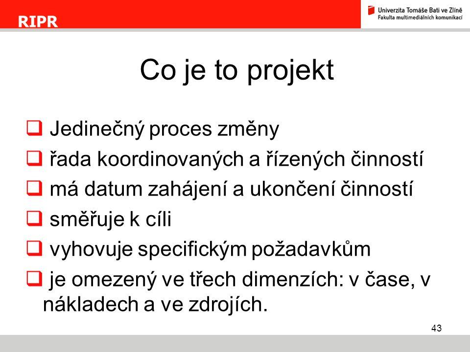 Co je to projekt Jedinečný proces změny