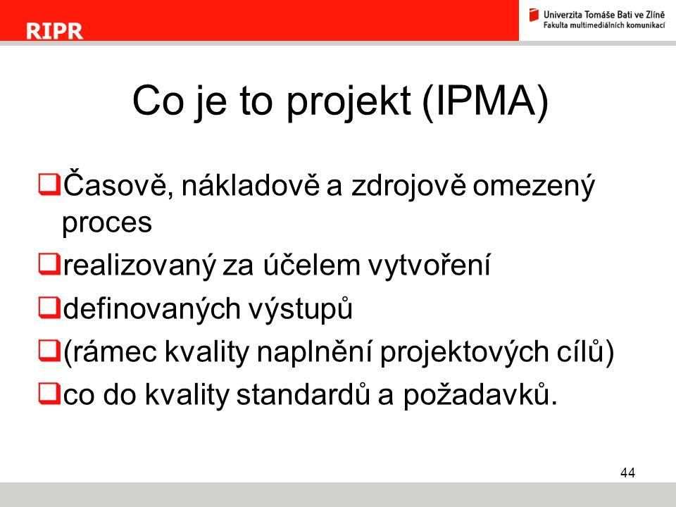 Co je to projekt (IPMA) Časově, nákladově a zdrojově omezený proces