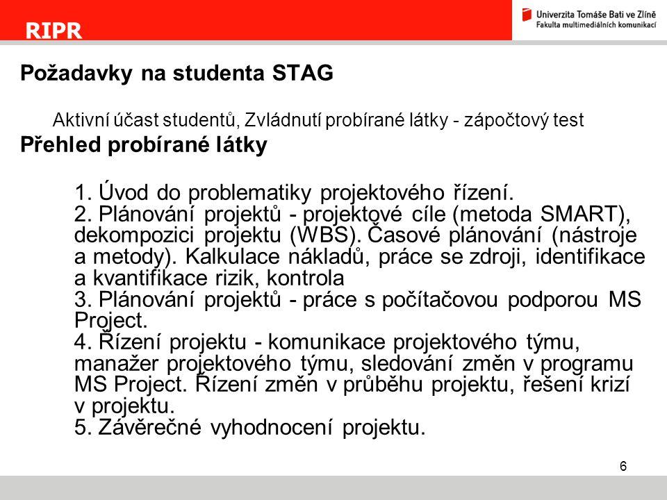 Požadavky na studenta STAG