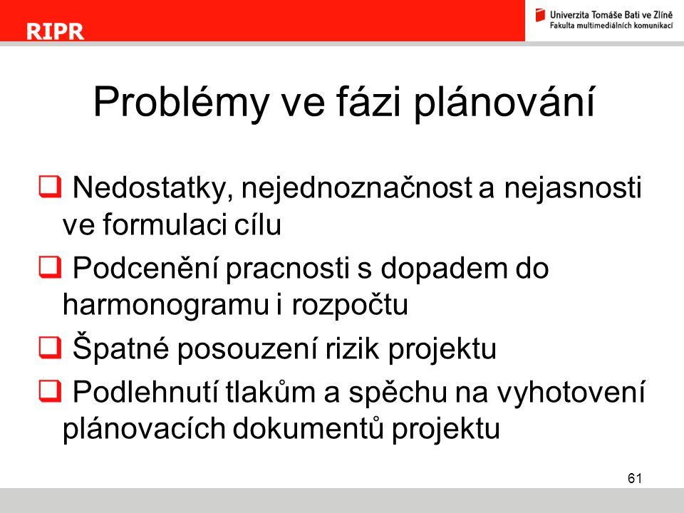 Problémy ve fázi plánování