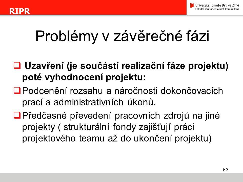 Problémy v závěrečné fázi