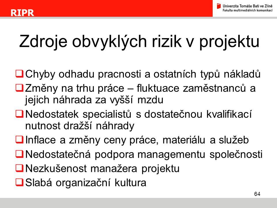 Zdroje obvyklých rizik v projektu
