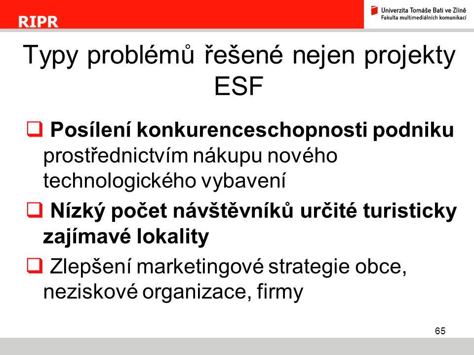 Typy problémů řešené nejen projekty ESF