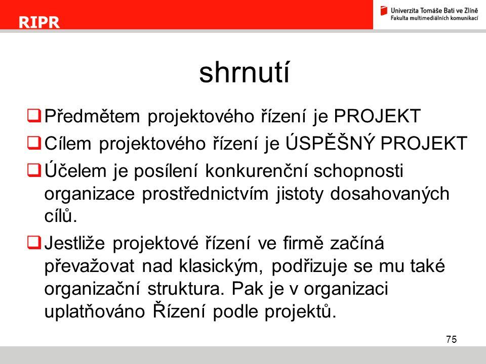 shrnutí Předmětem projektového řízení je PROJEKT