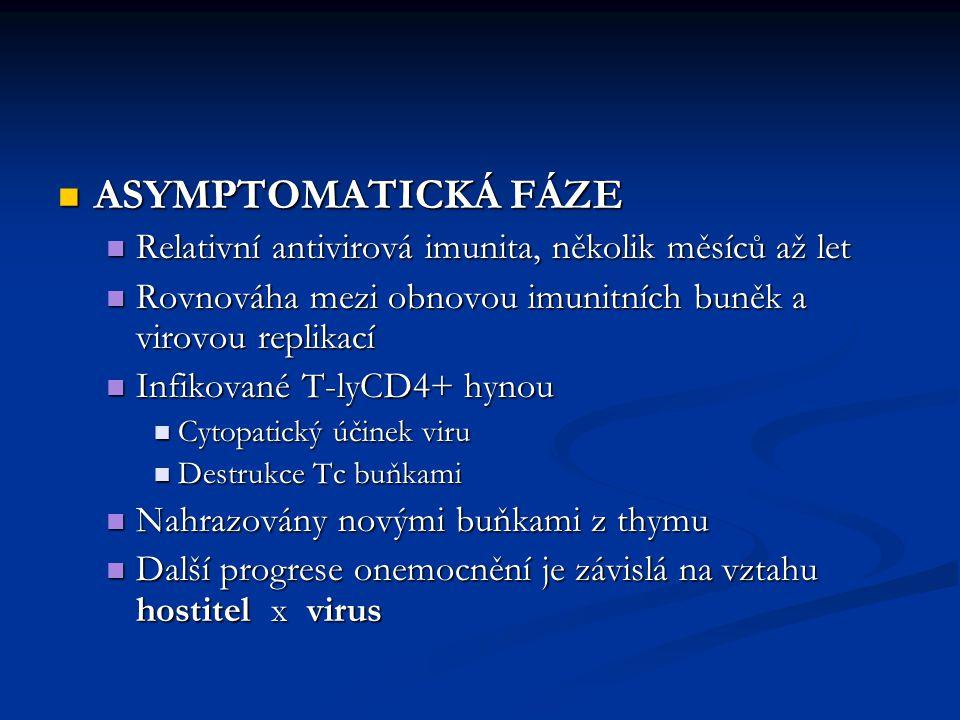 ASYMPTOMATICKÁ FÁZE Relativní antivirová imunita, několik měsíců až let. Rovnováha mezi obnovou imunitních buněk a virovou replikací.