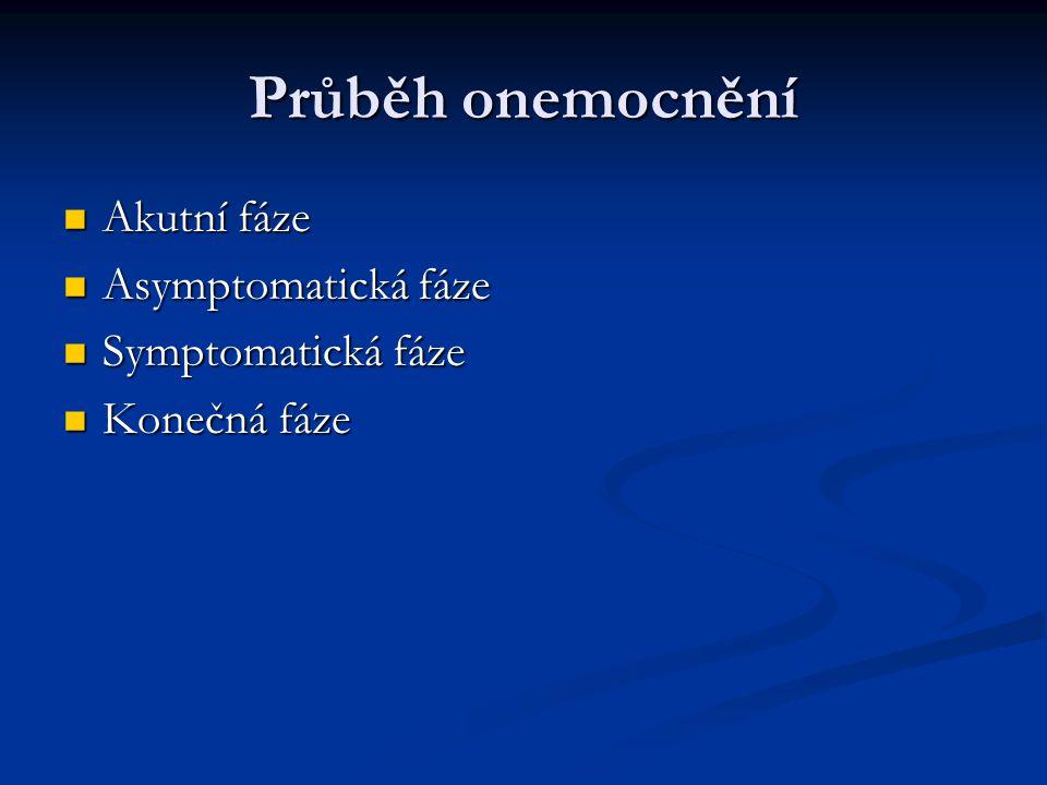 Průběh onemocnění Akutní fáze Asymptomatická fáze Symptomatická fáze