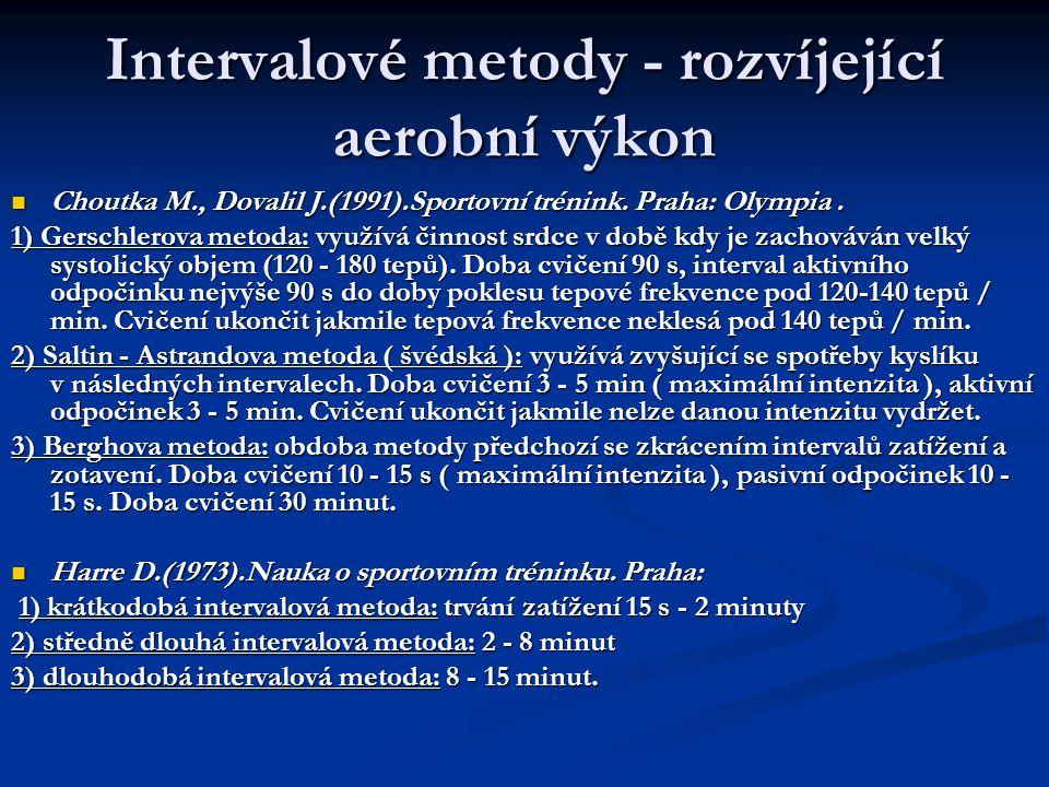 Intervalové metody - rozvíjející aerobní výkon