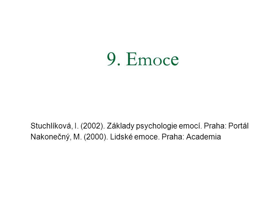 9. Emoce Stuchlíková, I. (2002). Základy psychologie emocí.