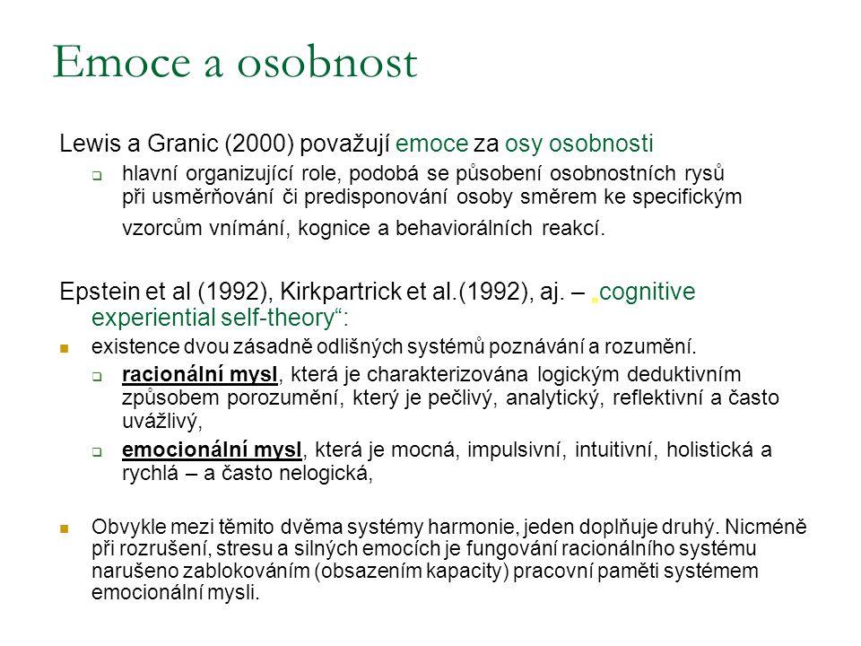 Emoce a osobnost Lewis a Granic (2000) považují emoce za osy osobnosti