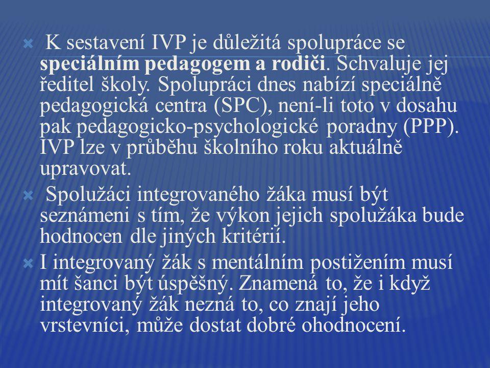 K sestavení IVP je důležitá spolupráce se speciálním pedagogem a rodiči. Schvaluje jej ředitel školy. Spolupráci dnes nabízí speciálně pedagogická centra (SPC), není-li toto v dosahu pak pedagogicko-psychologické poradny (PPP). IVP lze v průběhu školního roku aktuálně upravovat.
