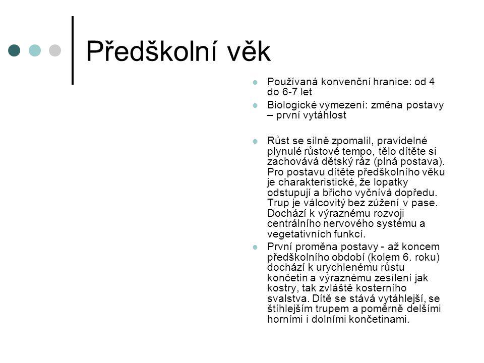 Předškolní věk Používaná konvenční hranice: od 4 do 6-7 let