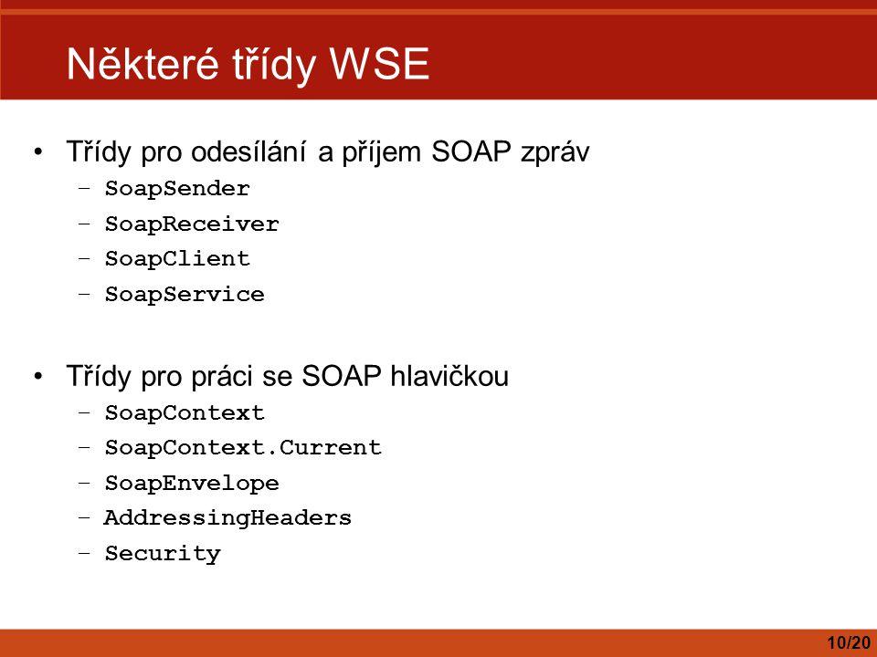 Některé třídy WSE Třídy pro odesílání a příjem SOAP zpráv