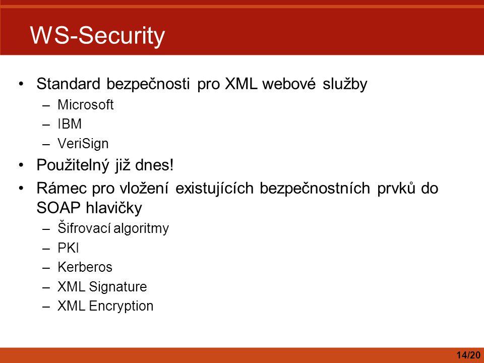 WS-Security Standard bezpečnosti pro XML webové služby