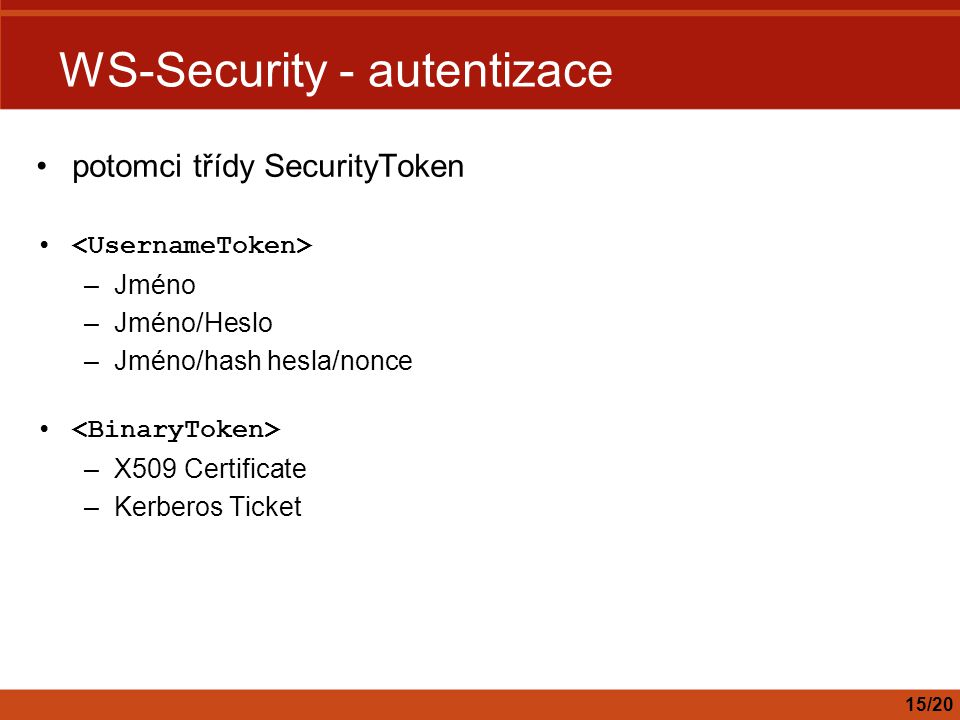 WS-Security - autentizace