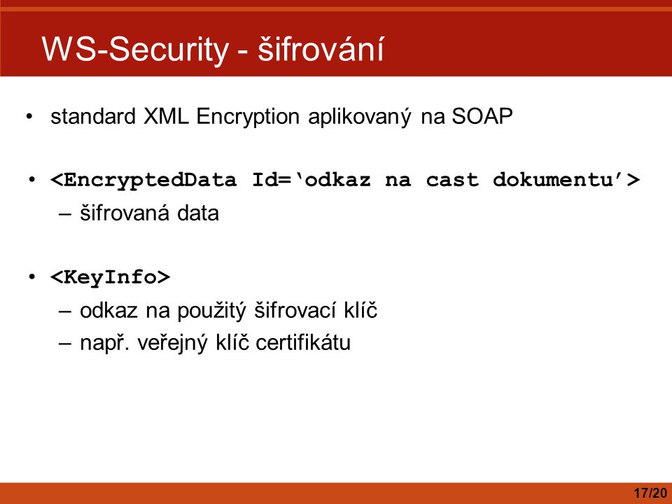 WS-Security - šifrování