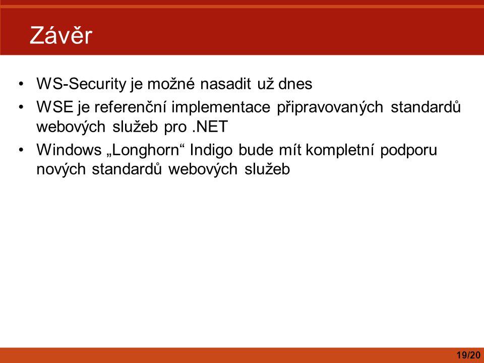 Závěr WS-Security je možné nasadit už dnes