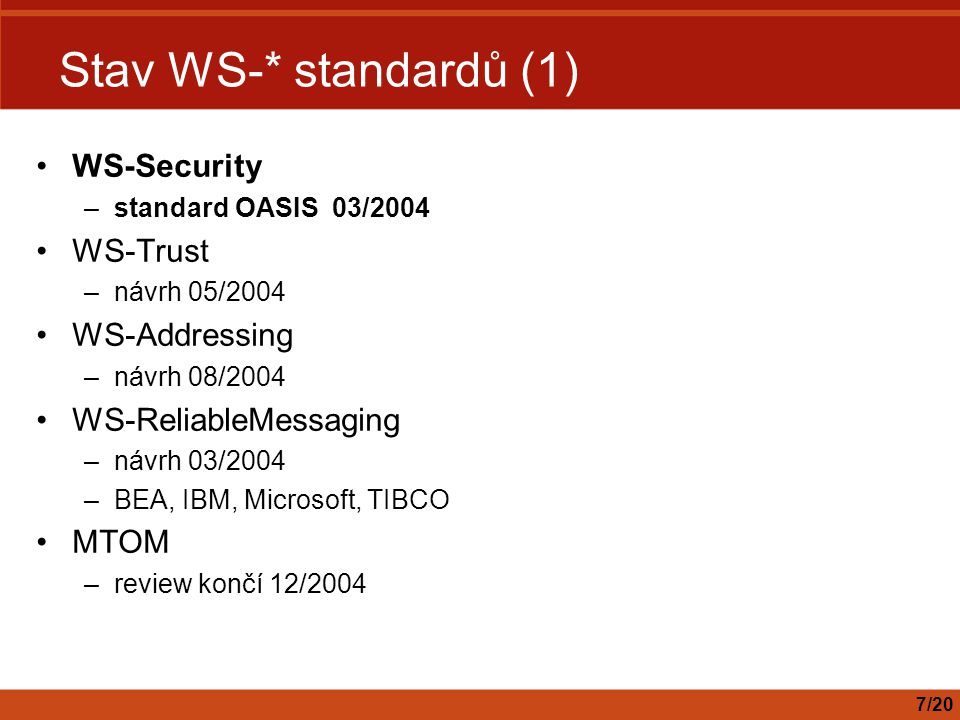 Stav WS-* standardů (1) WS-Security WS-Trust WS-Addressing