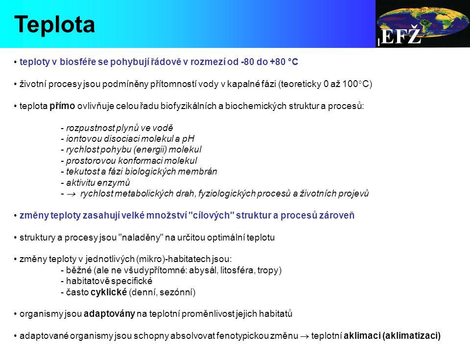 EFŽ Teplota. teploty v biosféře se pohybují řádově v rozmezí od -80 do +80 °C.