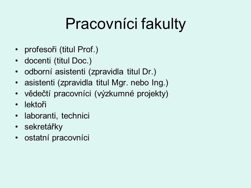 Pracovníci fakulty profesoři (titul Prof.) docenti (titul Doc.)
