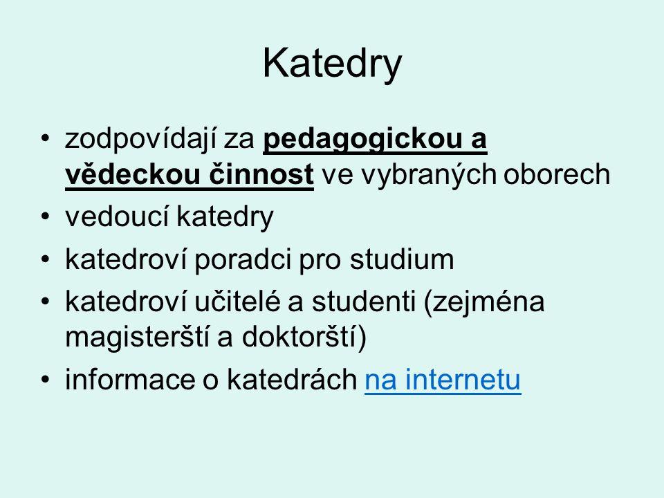 Katedry zodpovídají za pedagogickou a vědeckou činnost ve vybraných oborech. vedoucí katedry. katedroví poradci pro studium.