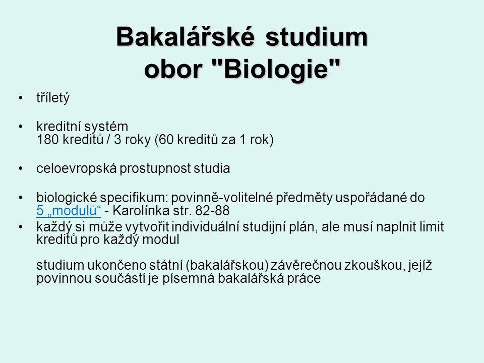 Bakalářské studium obor Biologie
