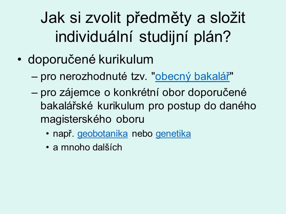 Jak si zvolit předměty a složit individuální studijní plán