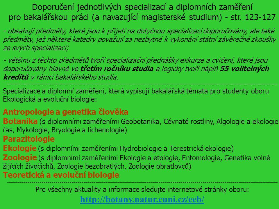 Doporučení jednotlivých specializací a diplomních zaměření