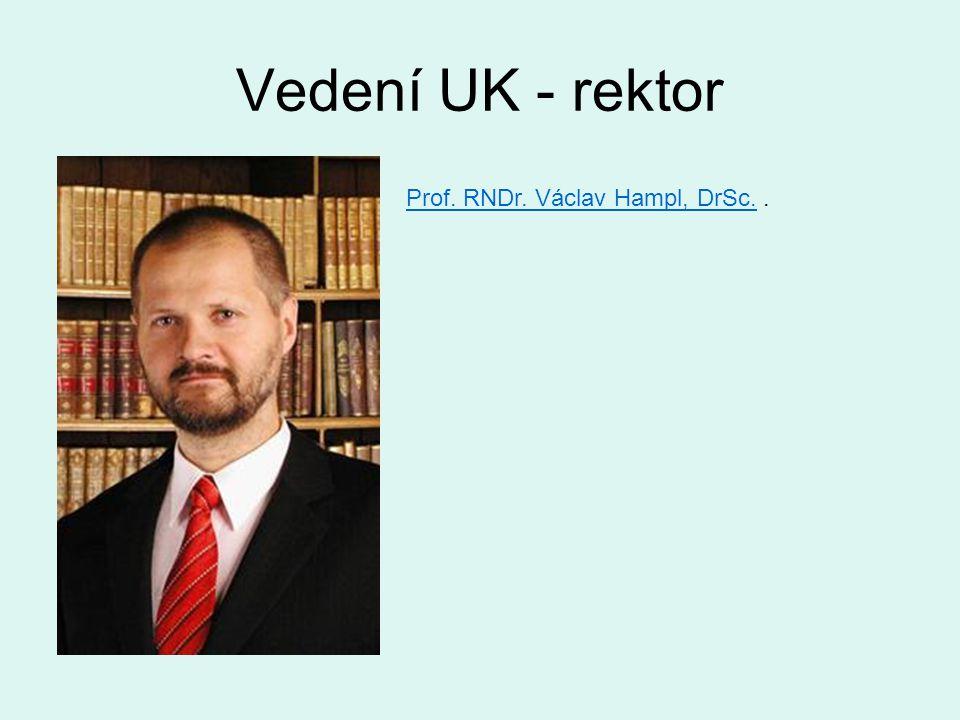 Vedení UK - rektor Prof. RNDr. Václav Hampl, DrSc. .