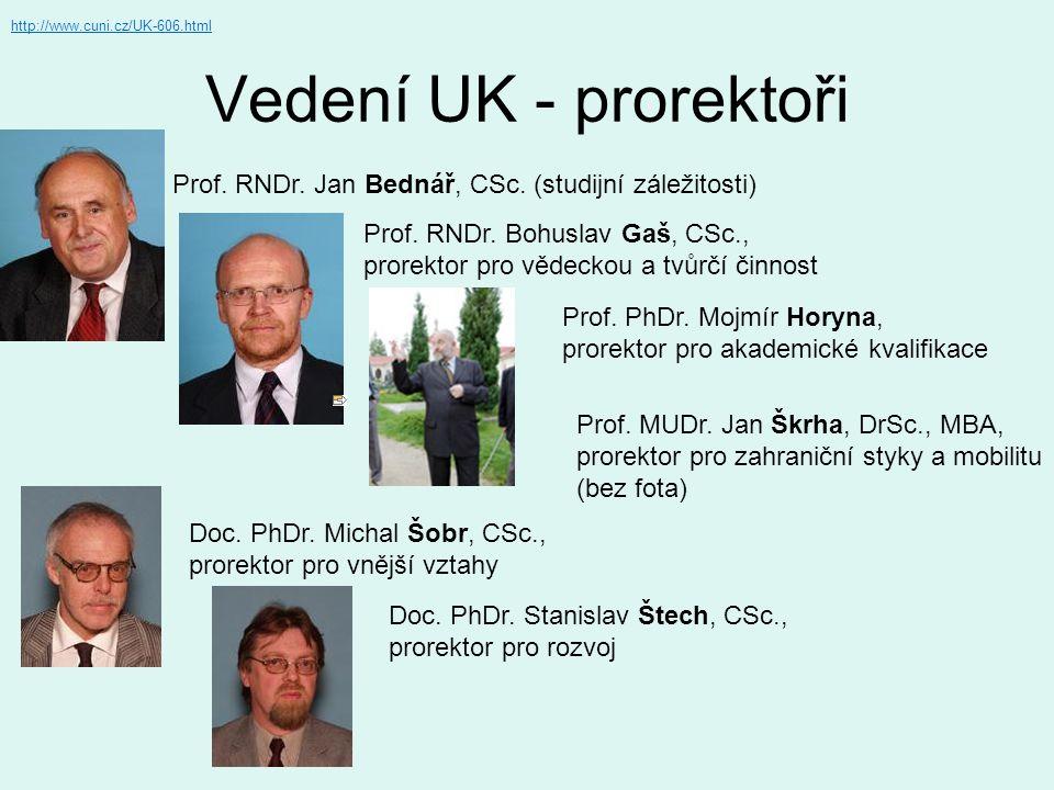 http://www.cuni.cz/UK-606.html Vedení UK - prorektoři. Prof. RNDr. Jan Bednář, CSc. (studijní záležitosti)