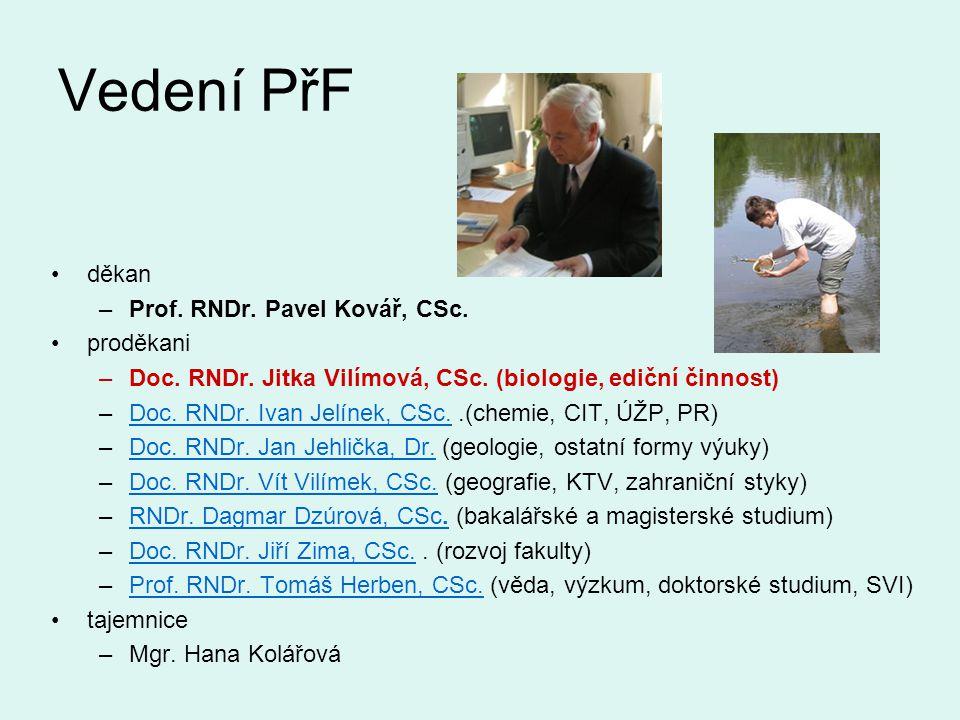 Vedení PřF děkan Prof. RNDr. Pavel Kovář, CSc. proděkani