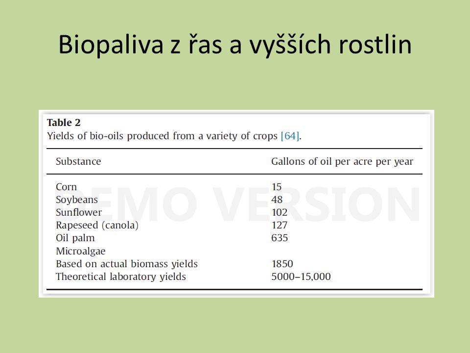 Biopaliva z řas a vyšších rostlin