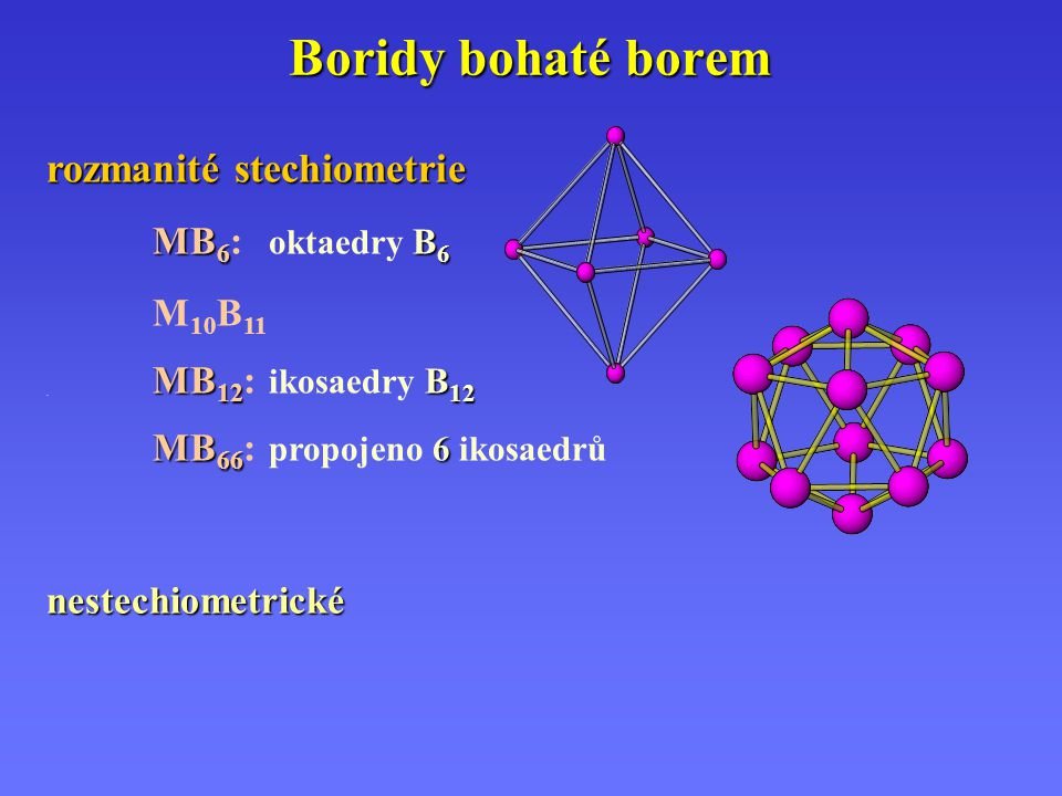 Boridy bohaté borem rozmanité stechiometrie MB6: oktaedry B6 M10B11